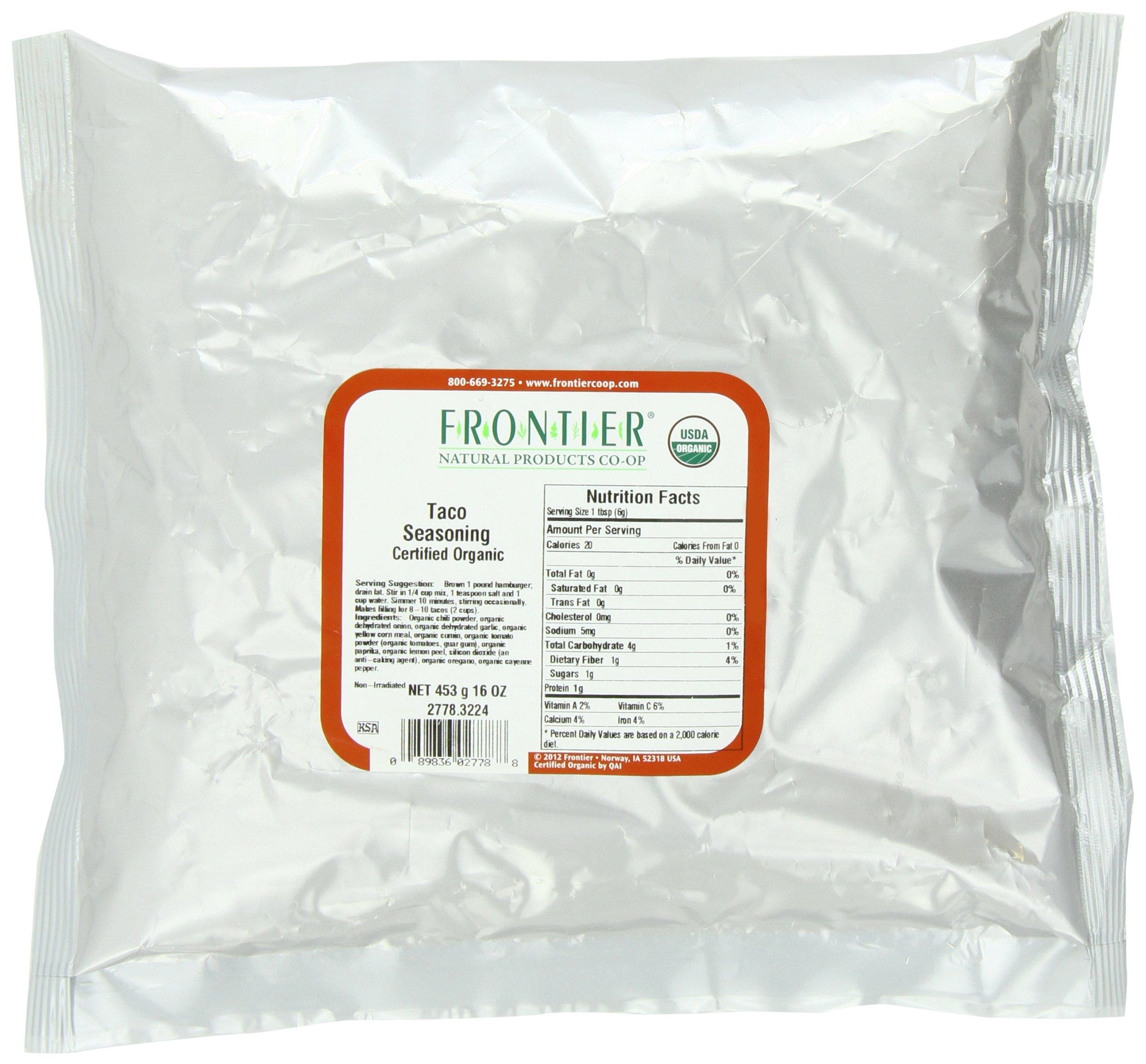 Frontier Taco Seasoning Certified Organic, 16 Ounce Bag