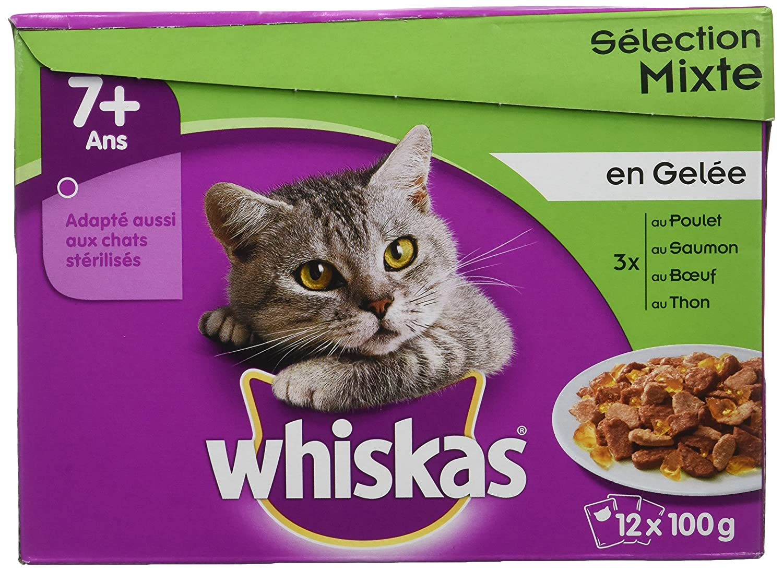 Whiskas sachets fraîcheur aux viandes et aux Poissons en gelée pour Chat 7+ ; 12x100g - Lot de 4 (48 Sachets fraîcheur)