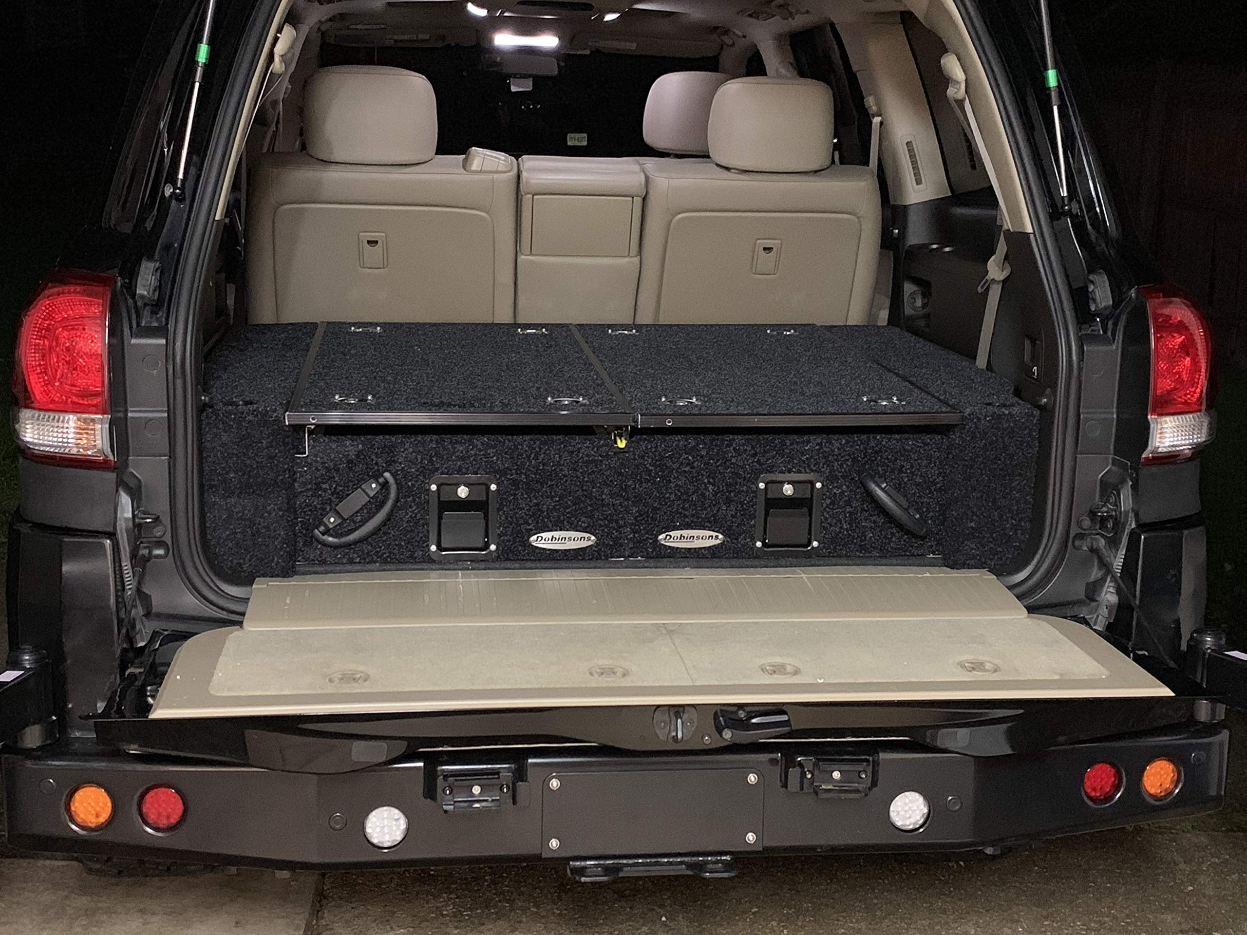 Dobinsons Rear Dual Roller Drawer System for Toyota Land Cruiser 200 Series 2007-2019 and Lexus LX570 with Fridge Slide and Side Panels