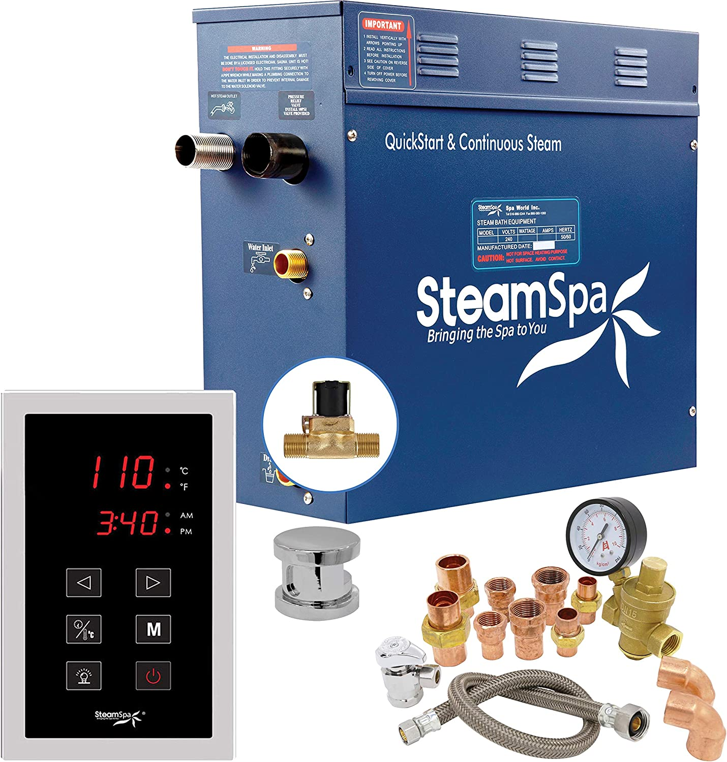 Steamspa Premium 6 Kw Quickstart Acu Steam Bath Generator Package With Built In Auto Drain In Polished Chrome Steam Generator Kit With Touch Screen Auto Drain Steamhead 240v Prt600ch A Amazon Com