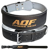 AQF Leather Weight Lifting Belt Body Building Fitness Gym Back Support Padded