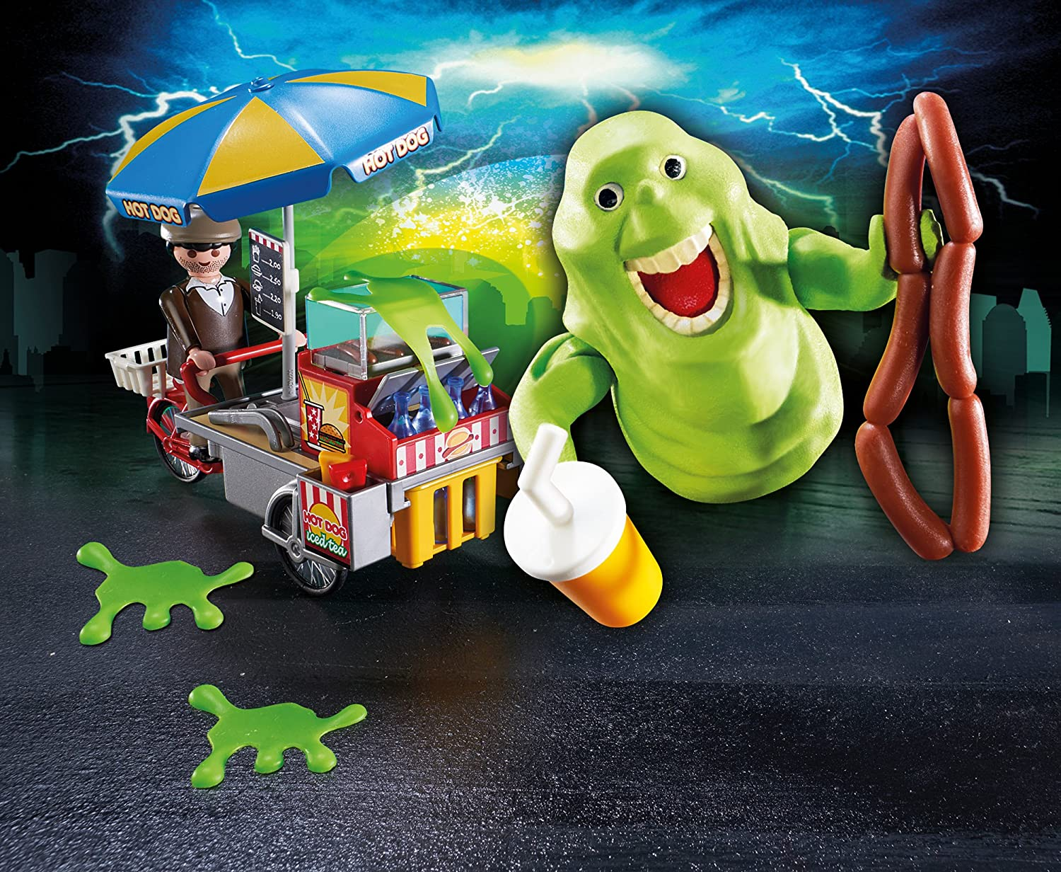 Playmobil Ghostbusters Slimer with Hot Dog Cart 9222 53pc Set NEW