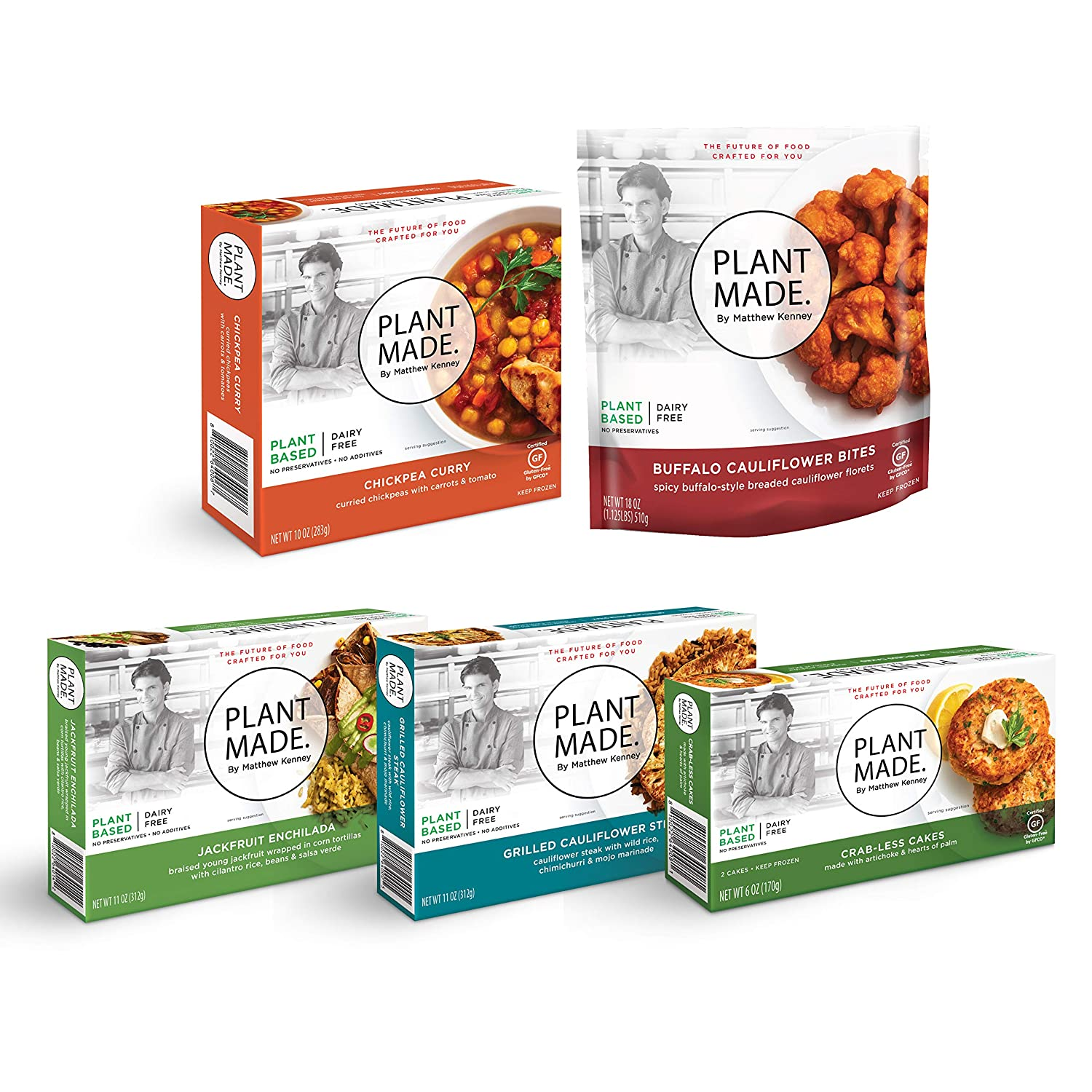PLANT MADE BY MATTHEW KENNEY. Gluten Free Frozen Meals 5 Pack. Plant Based, Dairy Free, Vegan Food. Quick, Healthy, & Easy Vegetarian Snacks & Dinners. Delicious ready to eat prepared meals & entrees.