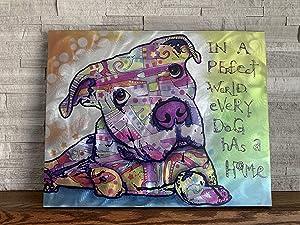 "iLove Home Decor Textured Metal Wall Art - Rescue Dog Decor Wall Print - Abstract Wall Art 24""x19""x1.5""."