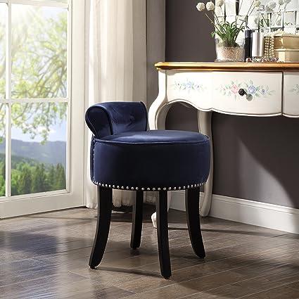 Amazon Com Inspired Home Taylor Navy Velvet Vanity Stool Nailhead