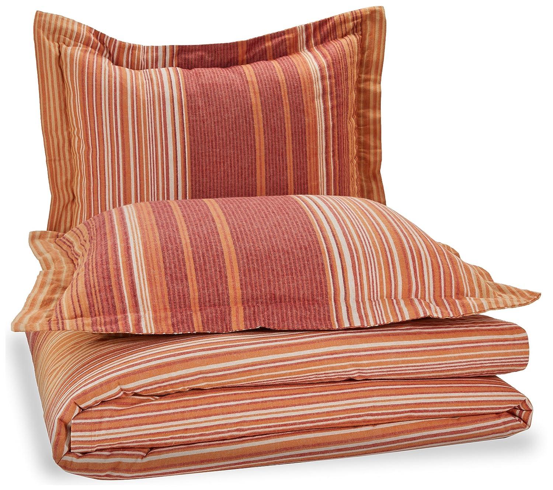 Flannel Duvet Set - King, Orange Stripe