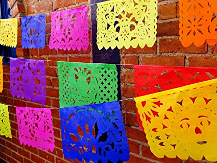 Garland of Mexican chopped paper flags Decoration for Christmas Mexican party supplies