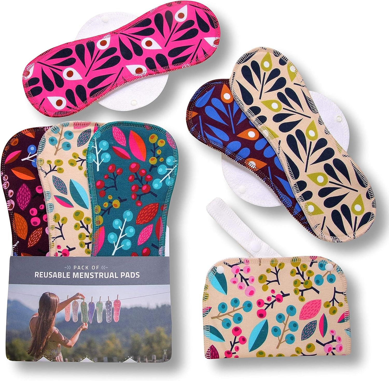Compresas de tela reutilizables, pack de 6 compresas ecologicas de algodón puro con alas (de tamaños L y XL) HECHAS EN LA UE para menstruación, ...