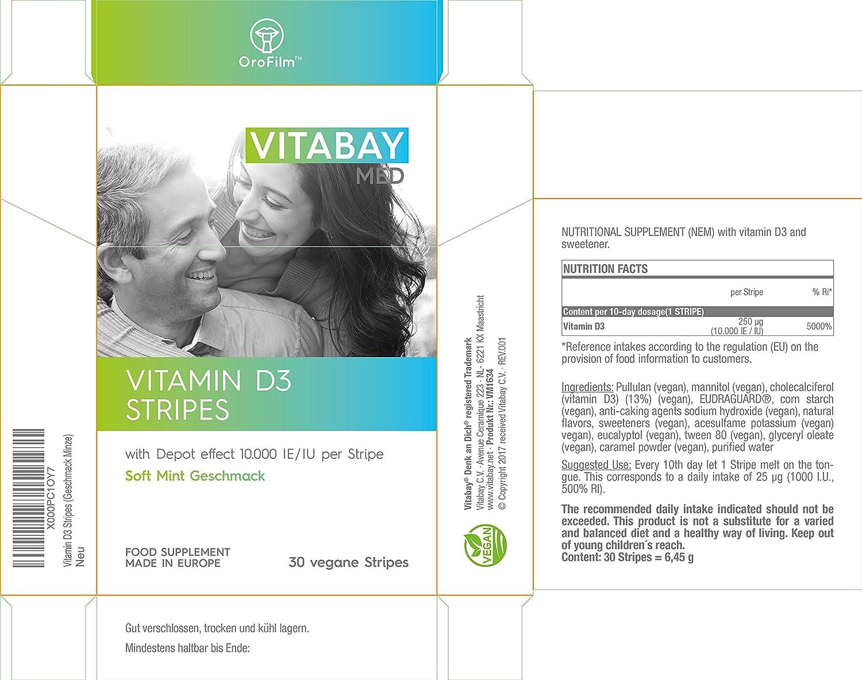 Vitamina D3 1,000 I.E. por día - 10,000 de depósito - Solo una tableta vegana / 10 días - 30 rayas veganas: Amazon.es: Salud y cuidado personal