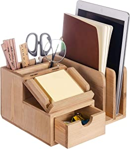 Liry Products Natural Wood Desk Organizer Storage Cabinet Mail File Paper Sticky Note Memo Pad Folder Office Supplies Caddy Tabletop Holder Accessory Sorter Multiple Compartments with Drawer