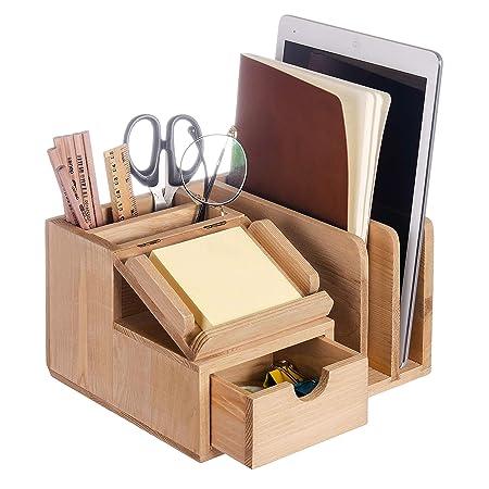 Liry Products Organizador de escritorio de madera natural ...