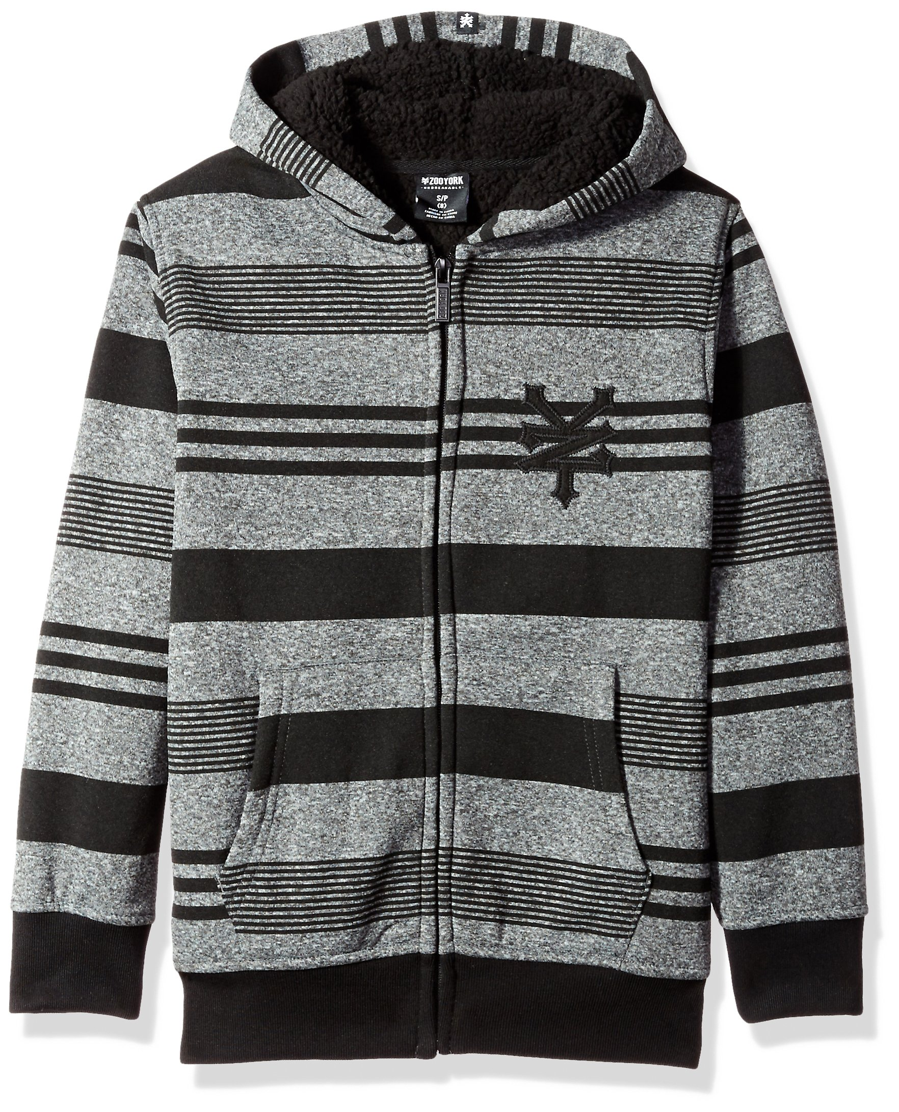 Zoo York Big Boys' Hoodie With Sherpa Lining, Lineage Black Heather, Small (8)