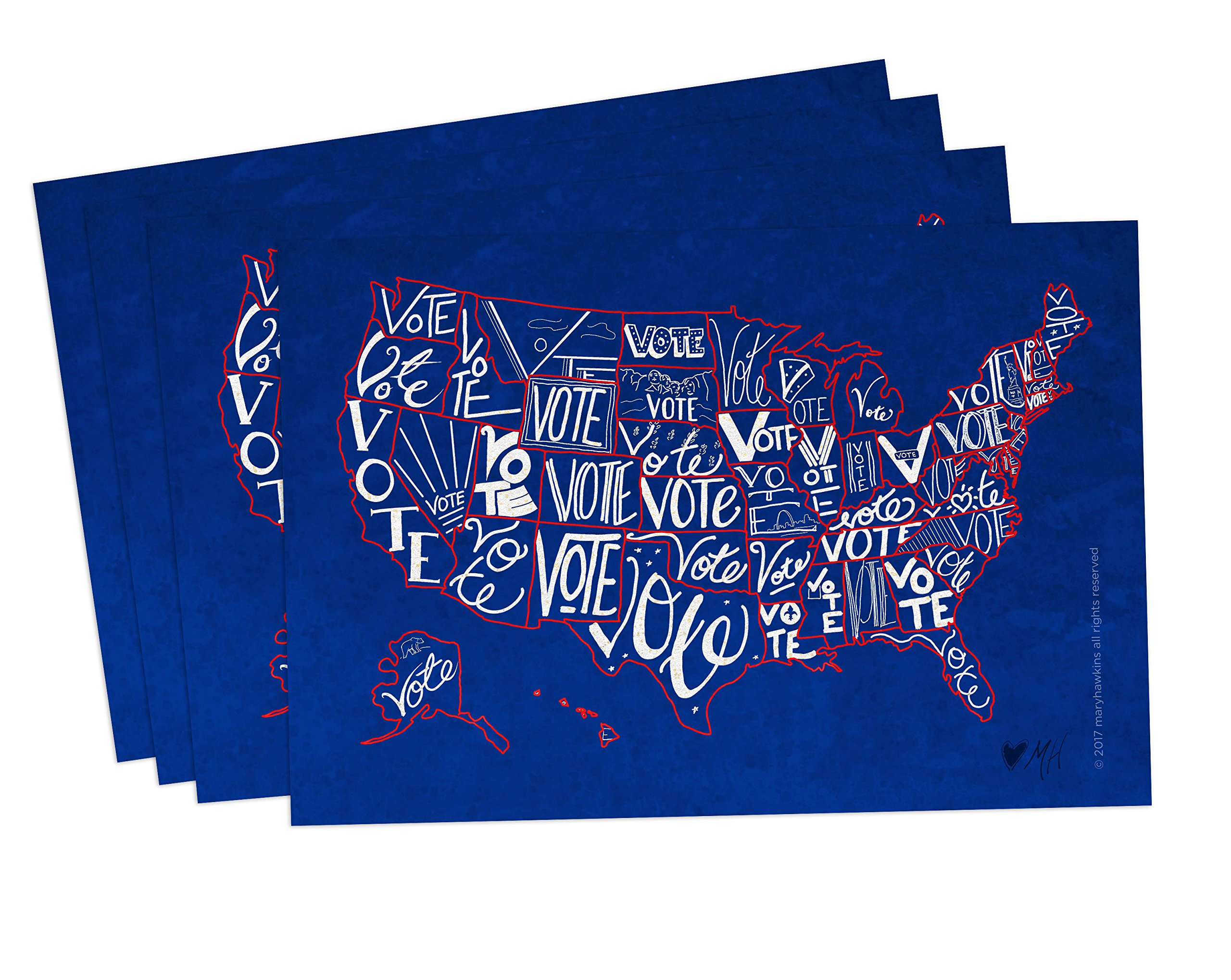 ''Vote USA'' postcards, pack of 100. Postcards with a map of the United States, perfect for writing politicians or get-out-the-vote campaigns (100) by Mary Likes Postcards