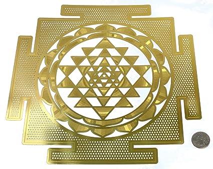 HeartsforLove Large Shree Yantra 18K Gold Plated Sacred Geometry 12