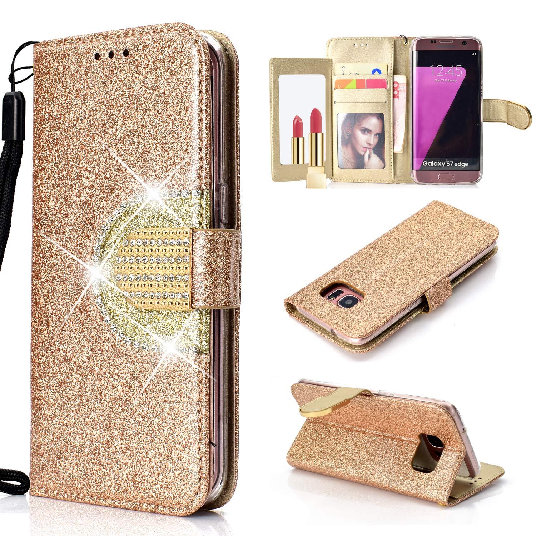 Für Samsung Galaxy S7 Edge Hülle Leder, QFUN Glitzer Bookstyle Klappbar Brieftasche Handyhülle mit Spiegel, Magnetverschluss Schutzhülle mit Kreditkartenhaltern, Standfunktion, Stoßfest Anti-Rutsch Cover Flip Case für Samsung Galaxy S7 Edge - Weiß