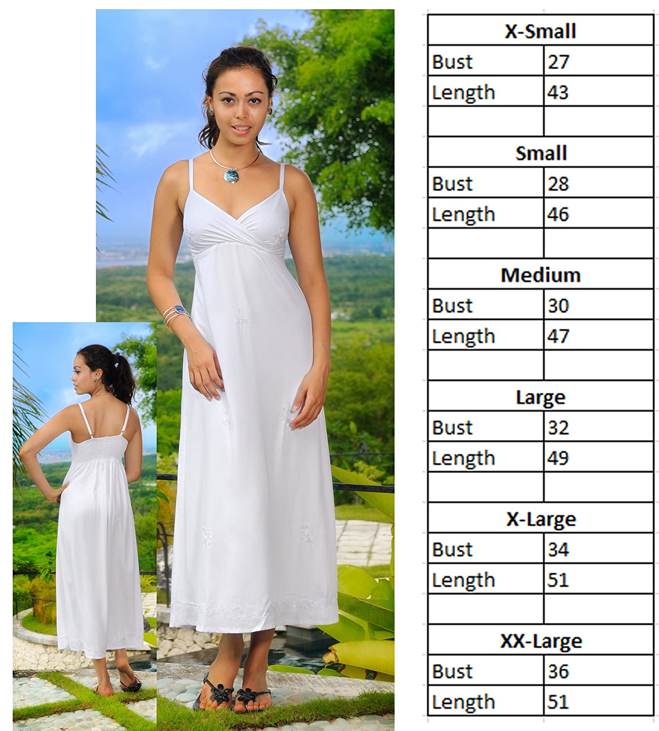 1 World Sarongs Vestido Veraniego Largo para Mujer con Bordado en Color Blanco - Forrado: Amazon.es: Ropa y accesorios