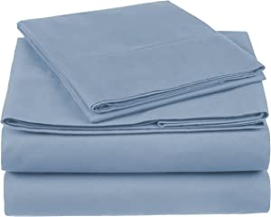 Pinzon 300 Thread Count Organic Cotton Bed Sheet Set - Twin XL, Flint Blue