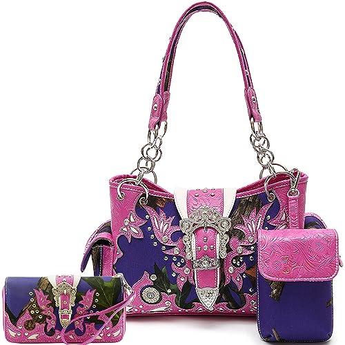 acc30023229e Cowgirl Trendy Western Cross Camouflage Purse Shoulder Bag Handbag Phone  Case Wallet Set Fuchsia