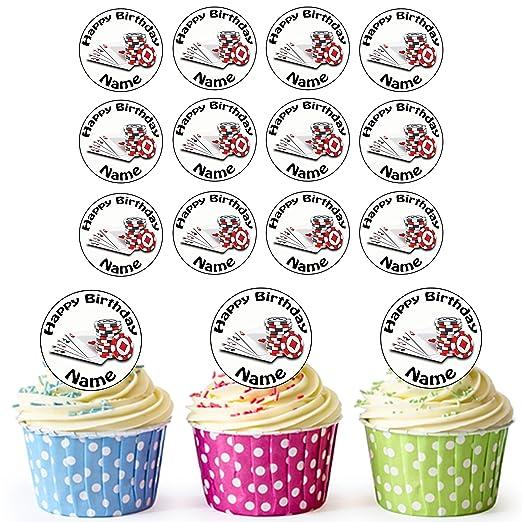 Poker tarjetas y Chips 24 personalizado comestible cupcake ...