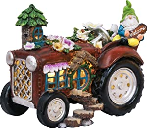 TERESA'S COLLECTIONS 7.3 inch Garden Gnome on Motorhome Statue with Solar Lights, Funny Gnome Tractor House Garden Decorations, Fairy Garden Figurines for Outdoor Christmas Lawn Patio Yard Porch