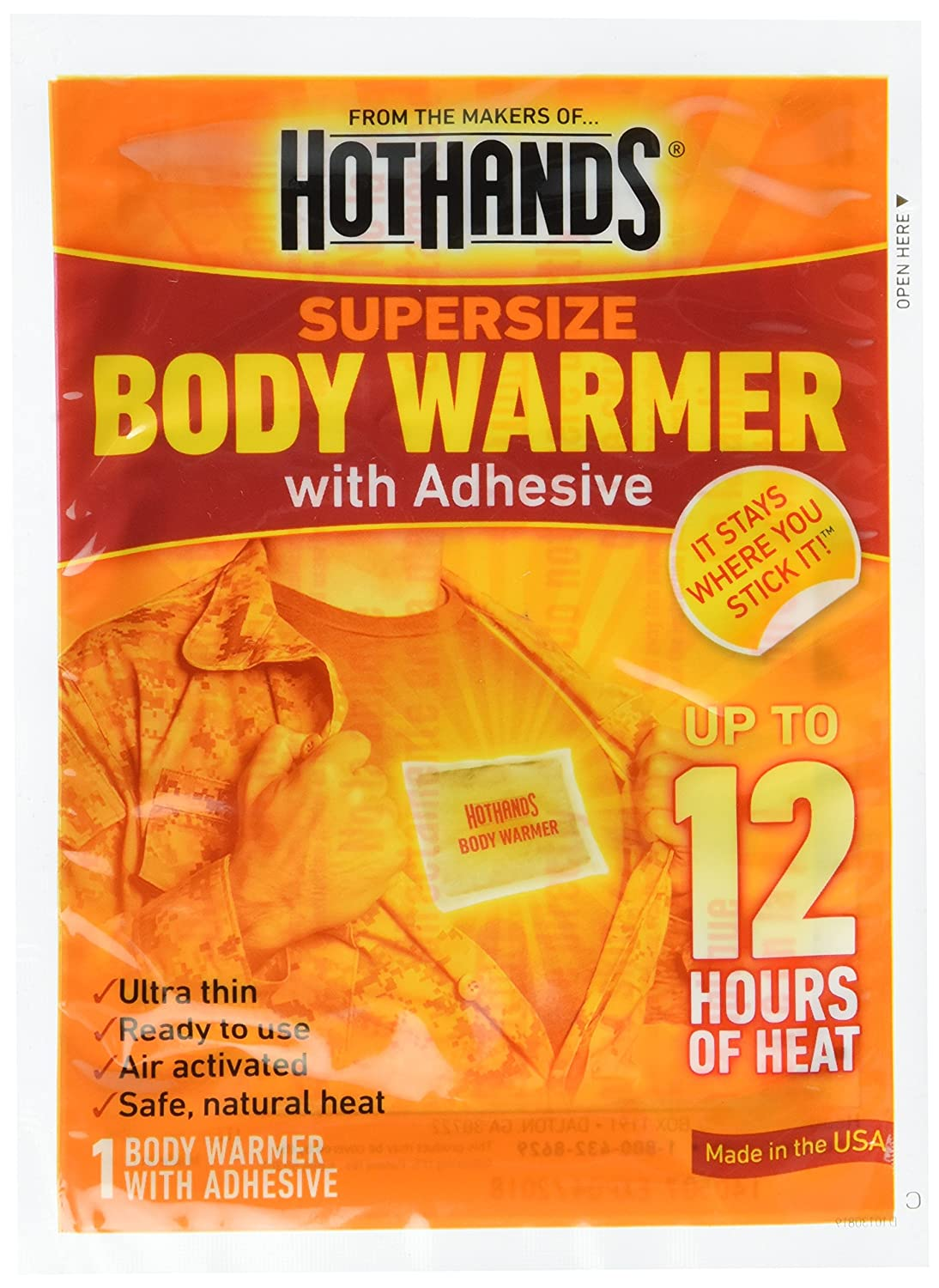 HeatMax Supersize BODY WARMER WITH ADHESIVE - 12 Hours - by HeatMax   B0007TGUN0