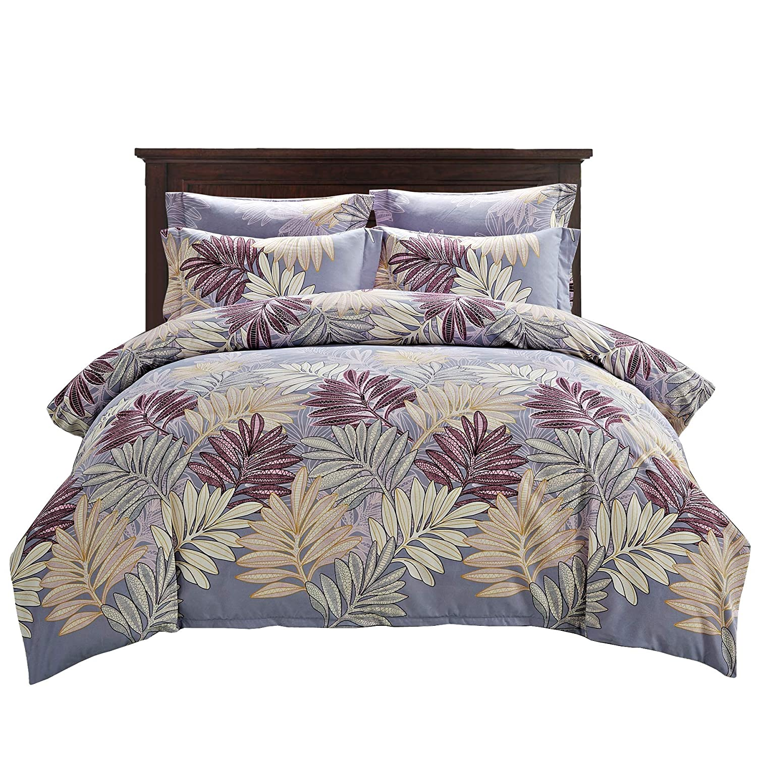0ecae643f348 DelbouTree Queen Duvet Cover Set,Lightweight Microfiber Duvet Cover Set,Light  Purple Quilt Cover,Maple Leaf Pattern: Amazon.ca: Home & Kitchen