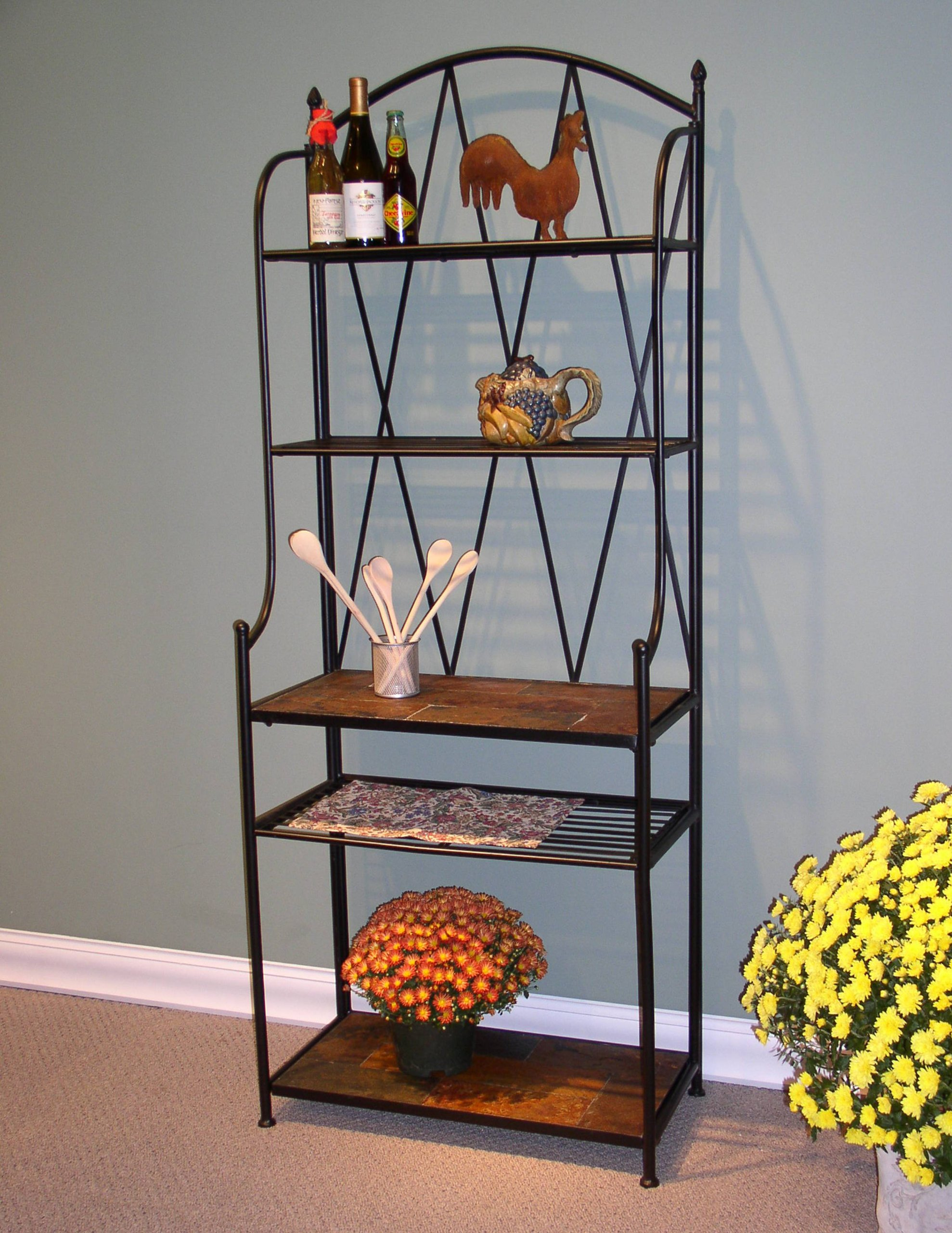 4D Concepts Baker's Rack with Slate Top, Metal/Slate