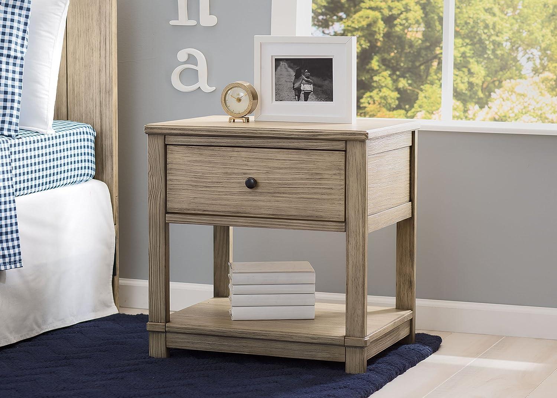 Rustic Whitewash Delta Children Cali Nightstand with Drawer and Shelf