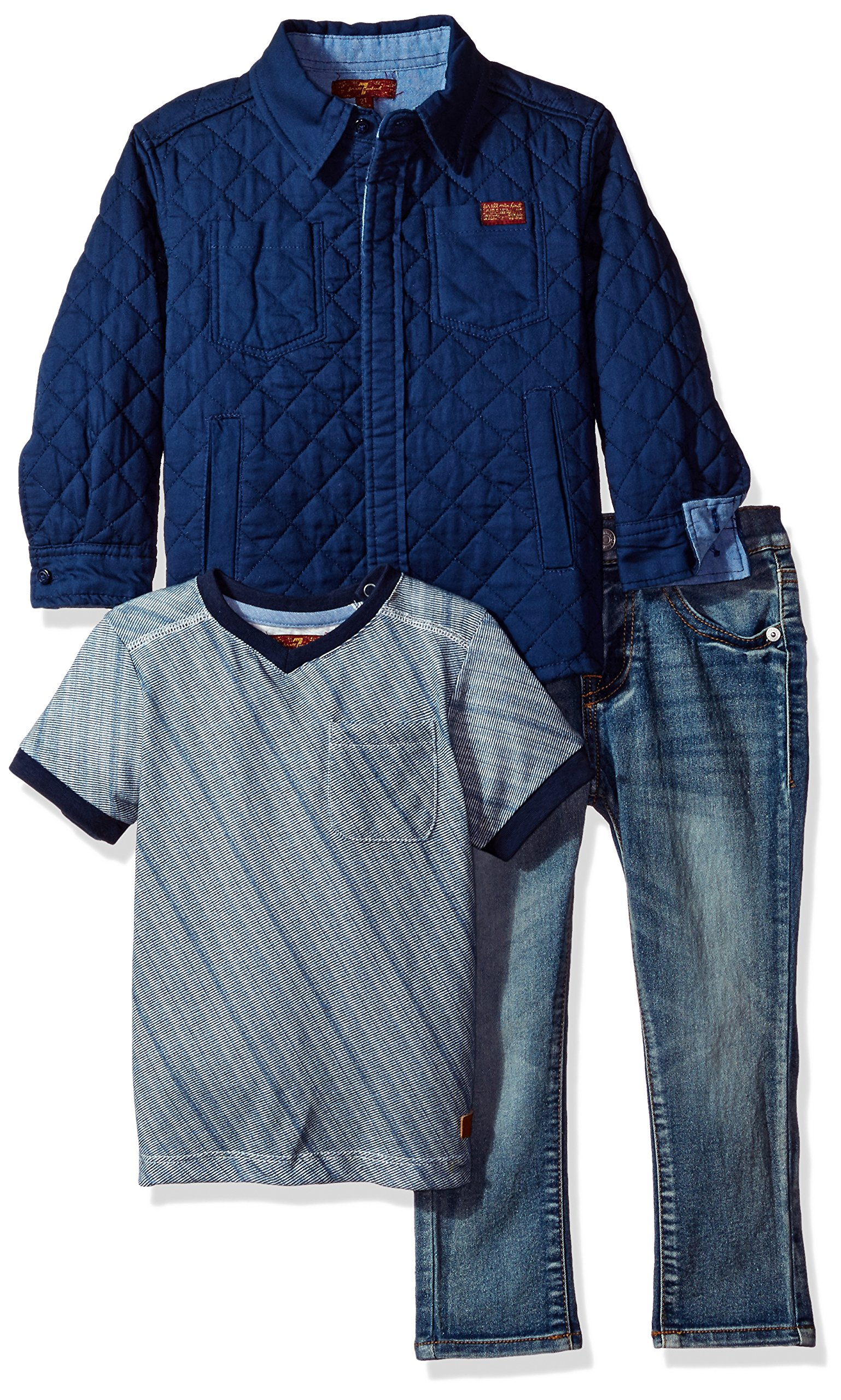 7 For All Mankind Toddler Boys' 3 Piece Trucker Jacket, T-Shirt and Jean Set, Peacoat, 2T