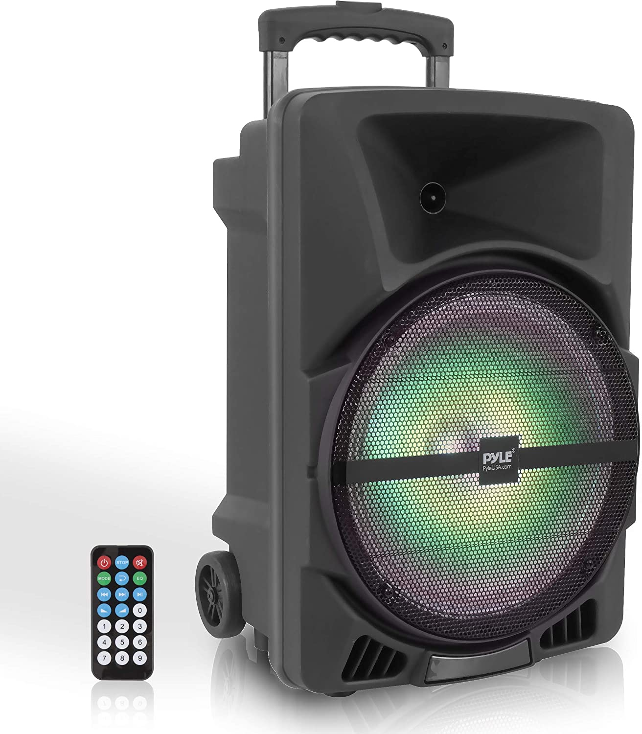 Pyle Wireless Portable PA Speaker System - 10W High Powered Bluetooth  Compatible Indoor & Outdoor DJ Sound Stereo Loudspeaker w/USB SD MP10 AUX  10.10mm