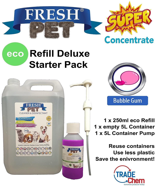 Trade Chemicals Fresh Pet - Desinfectante ecológico para caseta (250 ml) con vacío 5 l + bomba: Amazon.es: Productos para mascotas