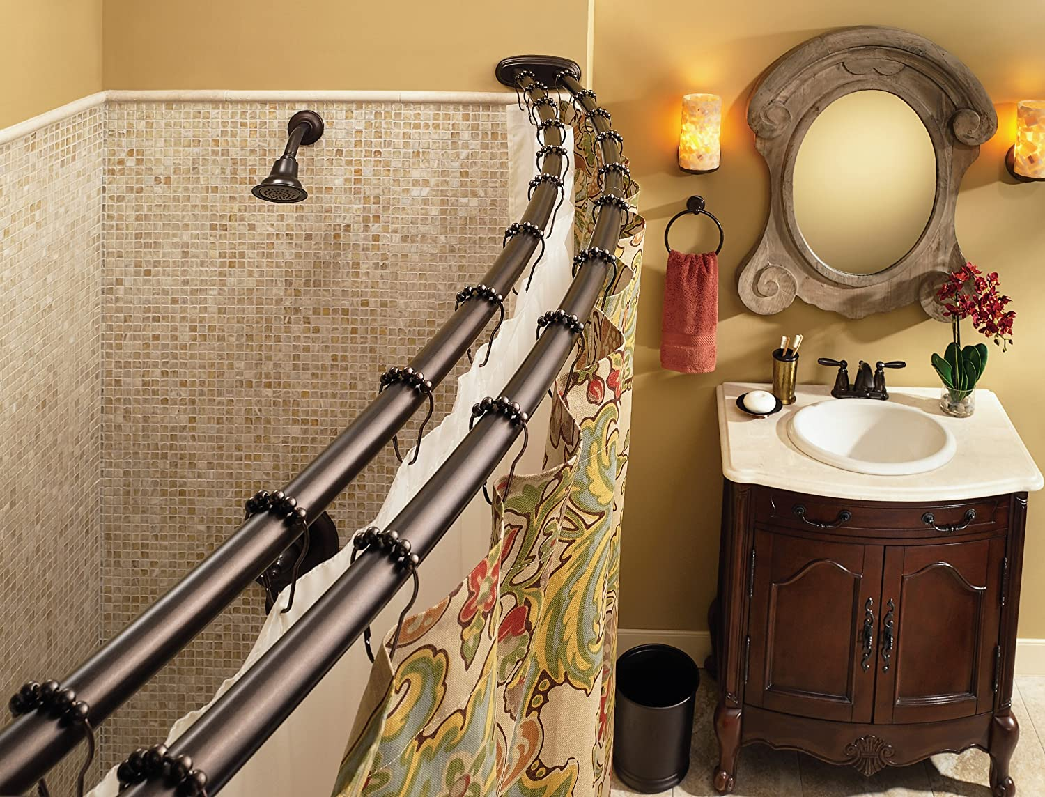 Amazon Moen DN2141OWB Adjustable Double Curved Shower Rod Old World Bronze Home Improvement