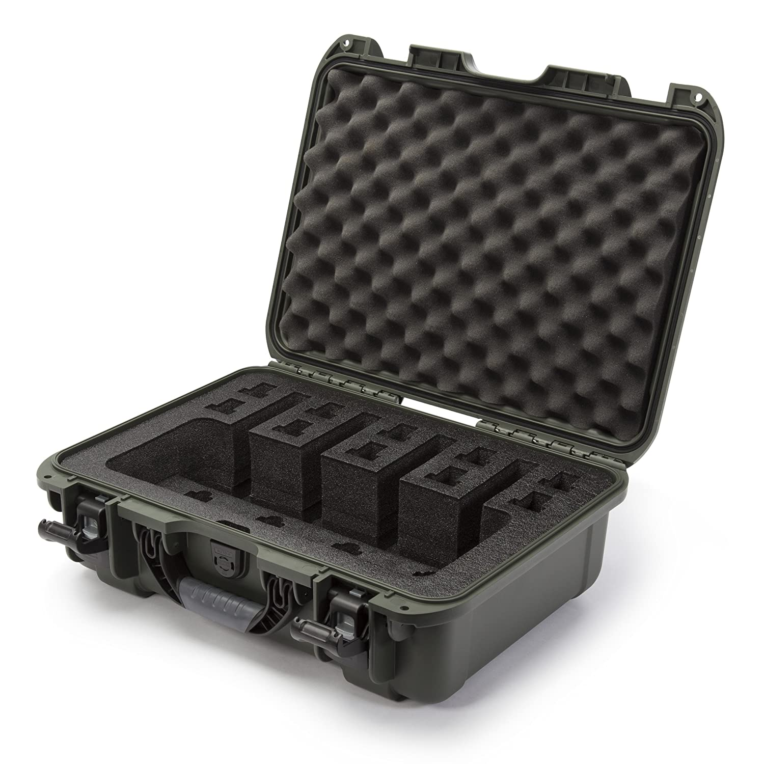 Nanuk 925 Waterproof Professional Gun Case, Military Approved with Custom Foam Insert for 4UP - Black 925-4UP1