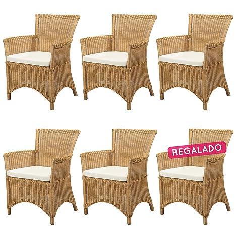 REBAJAS : -41% Lote 6 sillones de ratan Rosas amarillo ...