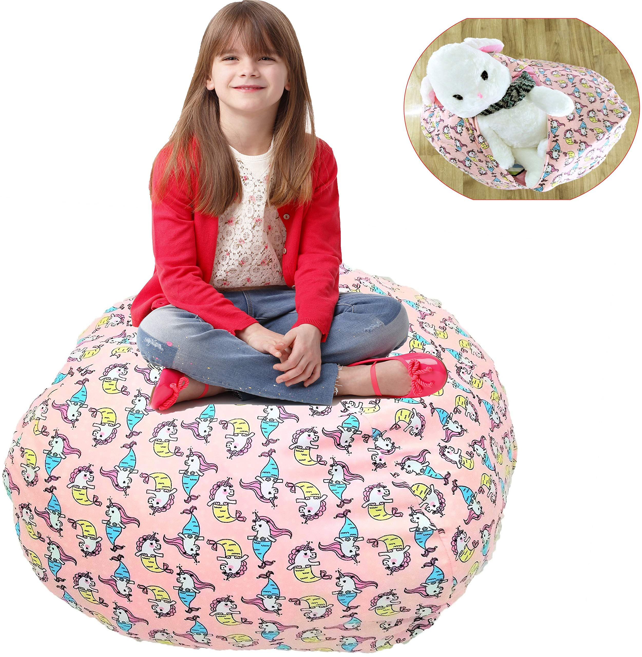 Shinny shony Stuffed Animal Storage Bean Bag - Cover Only - Large Triangle Beanbag Chair for Kids - 90 Plush Toys Holder - Quality YKK Zipper (Pink-1) by Shinny shony