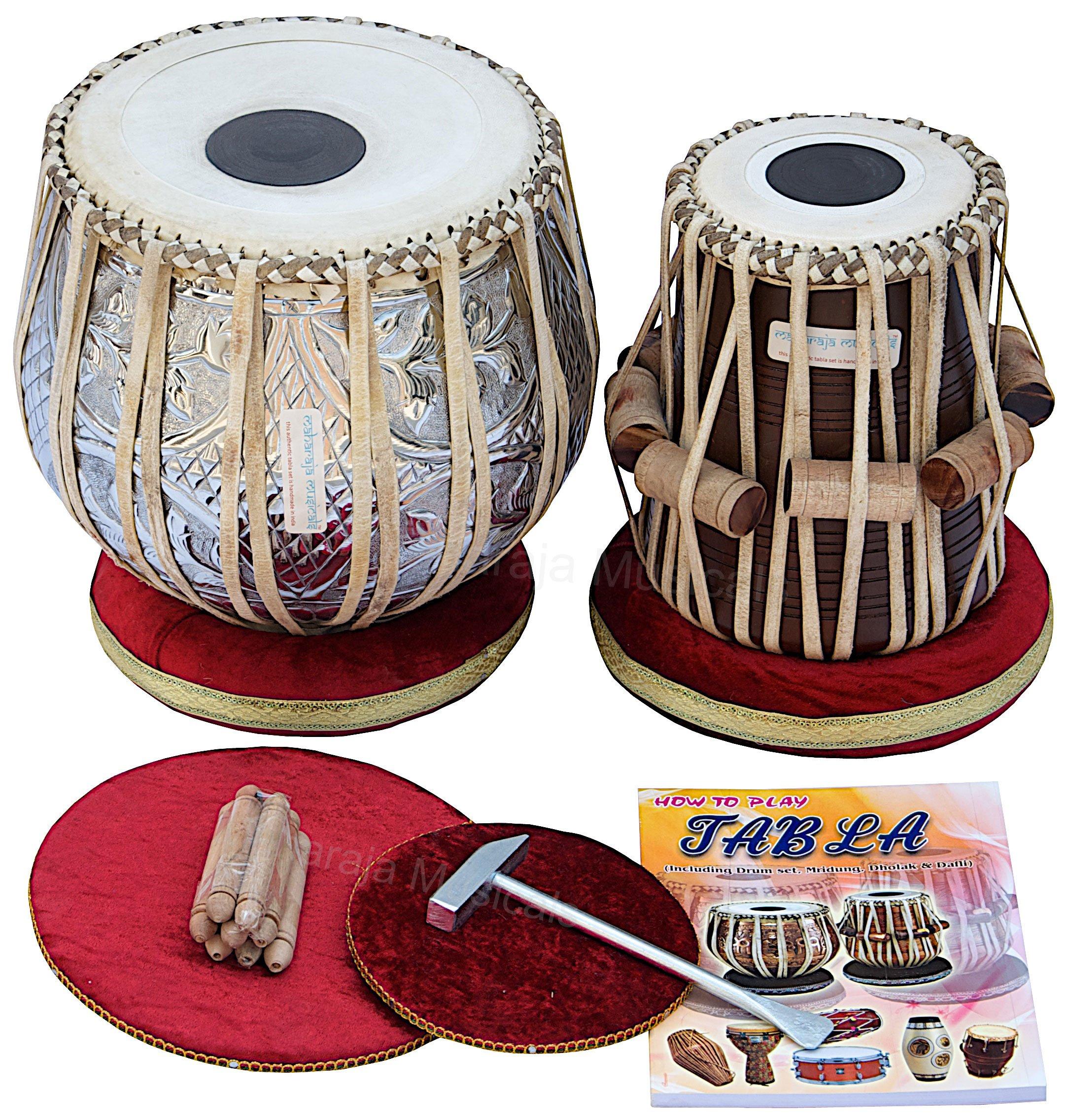 MAHARAJA Concert Tabla Drum Set, 4½ Kg Copper Bayan, Designer, Finest Dayan with Padded Bag, Book, Hammer, Cushions & Cover - Tabla Set Tabla Drums Tablas Indian Musical Instruments (PDI-69) by Maharaja Musicals