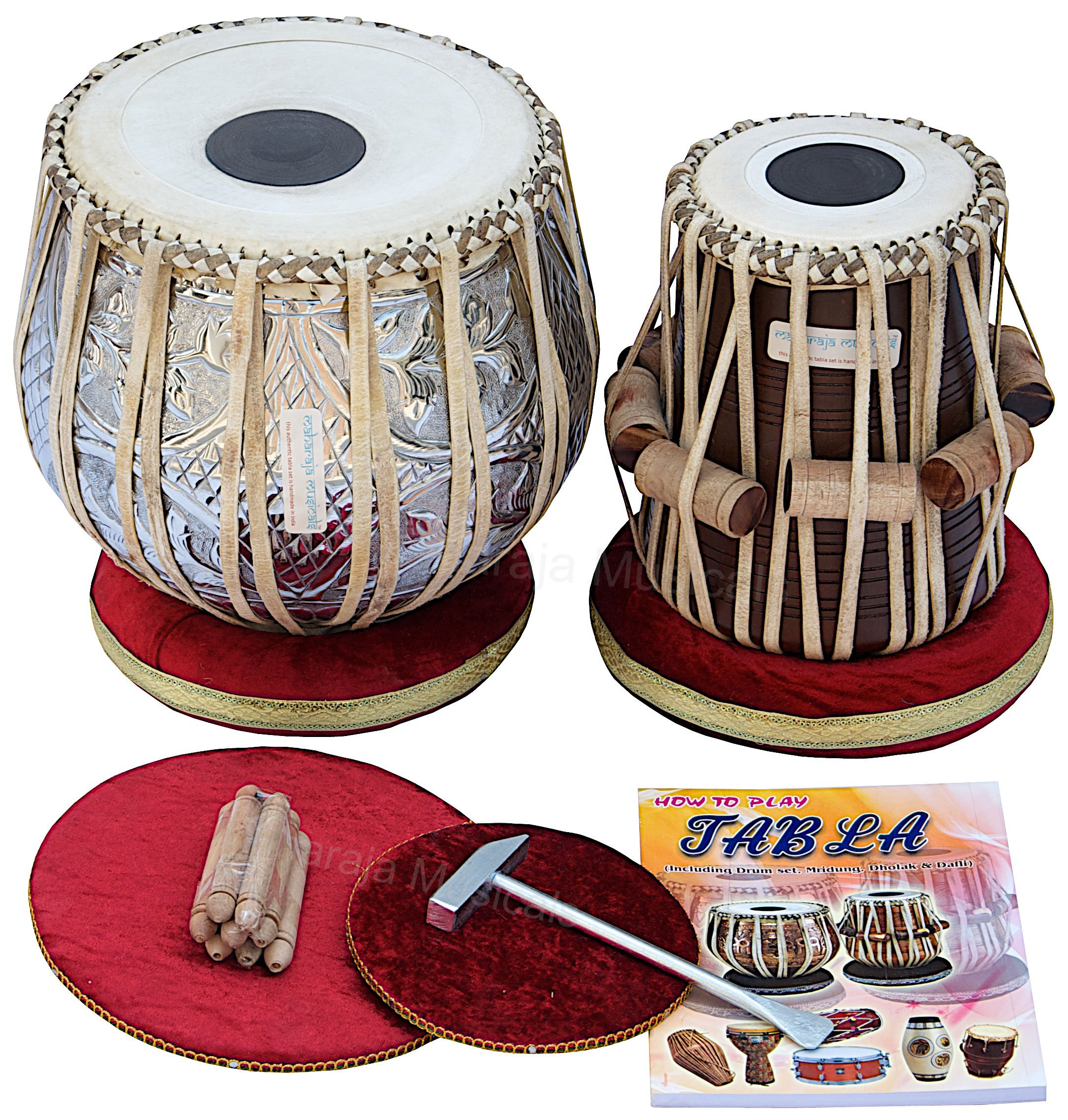 MAHARAJA Concert Tabla Drum Set, 4½ Kg Copper Bayan, Designer, Finest Dayan with Padded Bag, Book, Hammer, Cushions & Cover - Tabla Set Tabla Drums Tablas Indian Musical Instruments (PDI-69)