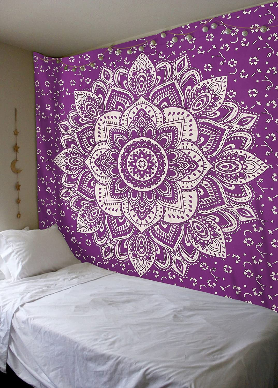 Amazoncom Madhu International Mandala Gold Tapestries Queen