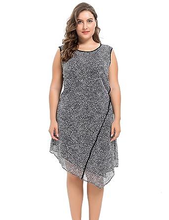 e7fd514f4 Chicwe Vestidos Tallas Grandes Mujeres Diseño Sesgo Gasa Forrado Dobladillo  con Panel insertado Negro 2X  Amazon.es  Ropa y accesorios