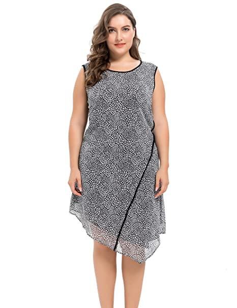 Chicwe Vestidos Tallas Grandes Mujeres Diseño Sesgo Gasa Forrado Dobladillo con Panel insertado Negro 3X
