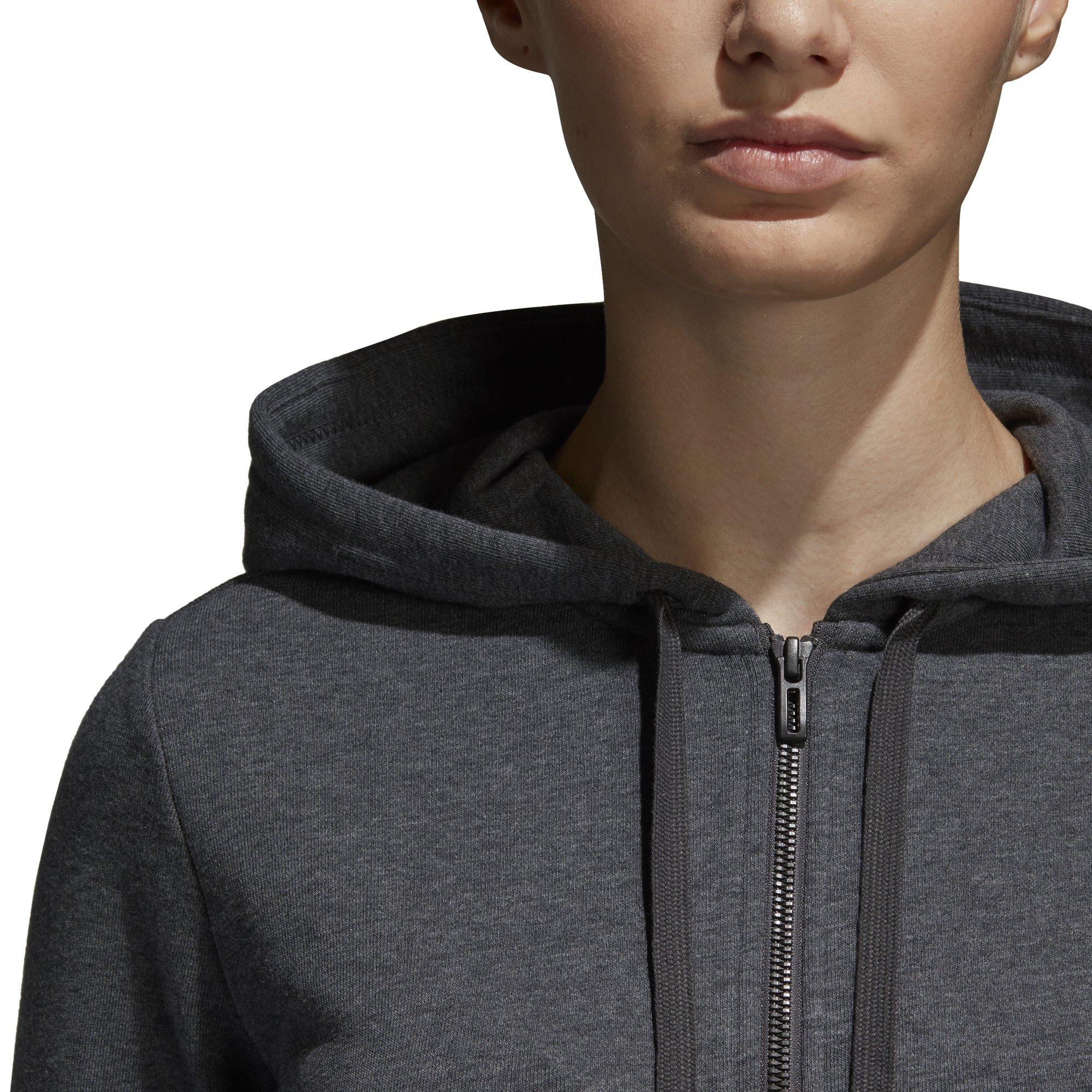 adidas Women's Essentials Linear Full Zip Fleece Hoodie, Dark Grey Heather/Real Coral, X-Small by adidas (Image #6)