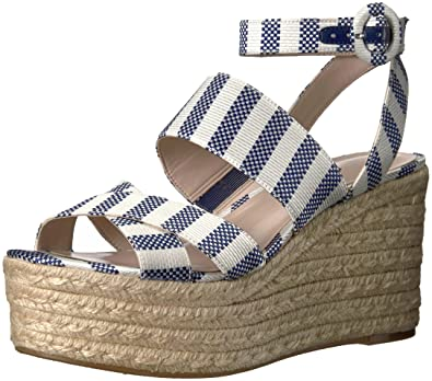 0fbf1c8c75d Nine West Women s KUSHALA Wedge Sandal Dark Blue-Off White Fabric 10 Medium  US