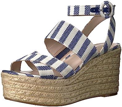 6165eef186c Nine West Women s KUSHALA Wedge Sandal Dark Blue-Off White Fabric 10 Medium  US