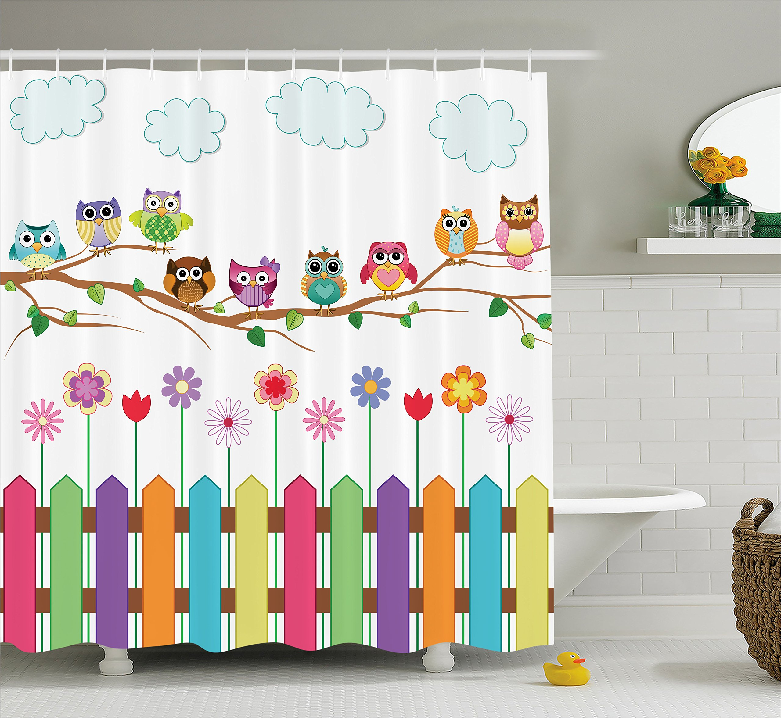 Ambesonne Owls Home Decor Shower Curtain Set By, Owls On A Branch Sunny Day Countryside Farmhouse Fences Wildflowers Holidays Art, Bathroom Accessories, 75 Inches Long