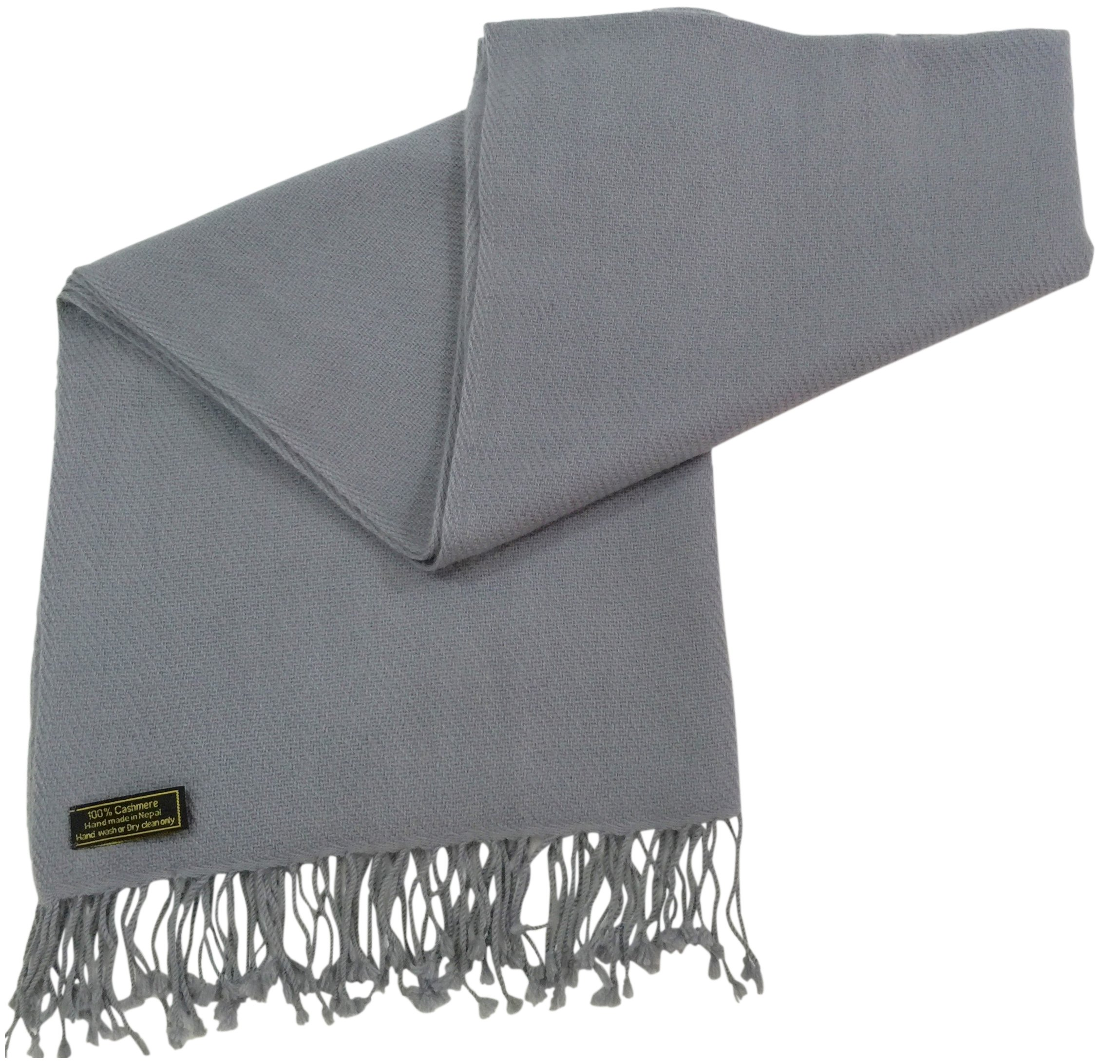 Light Grey High Grade 100% Cashmere Shawl Scarf Wrap Hand Made from Nepal NEW by CJ Apparel (Image #3)