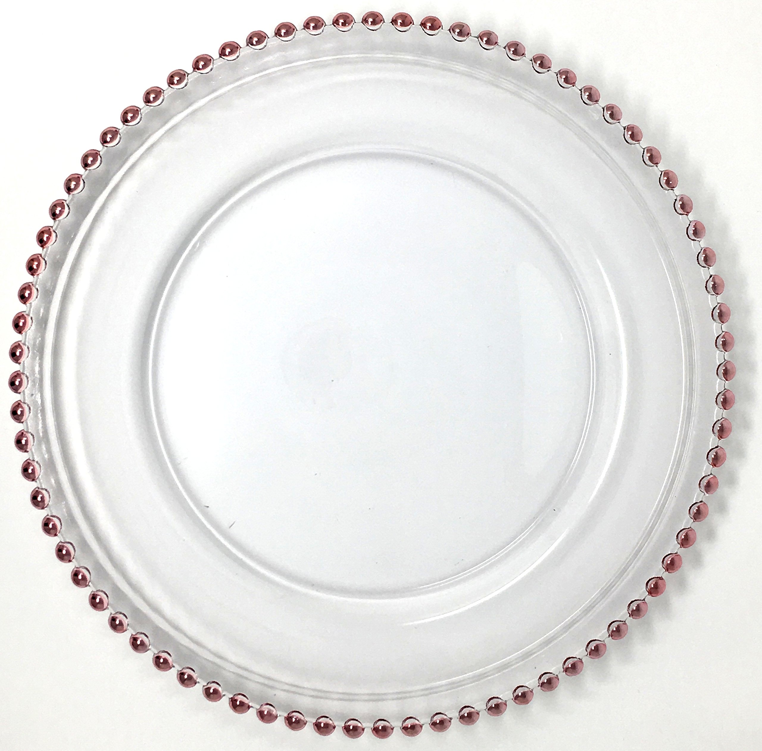 Beautiful Glass Dinnerware Formal 13-Inch Pink Rose Gold Beaded Clear Glass Charger Plate Wedding Party Dinner Modern Appeal Glass Plates (20)