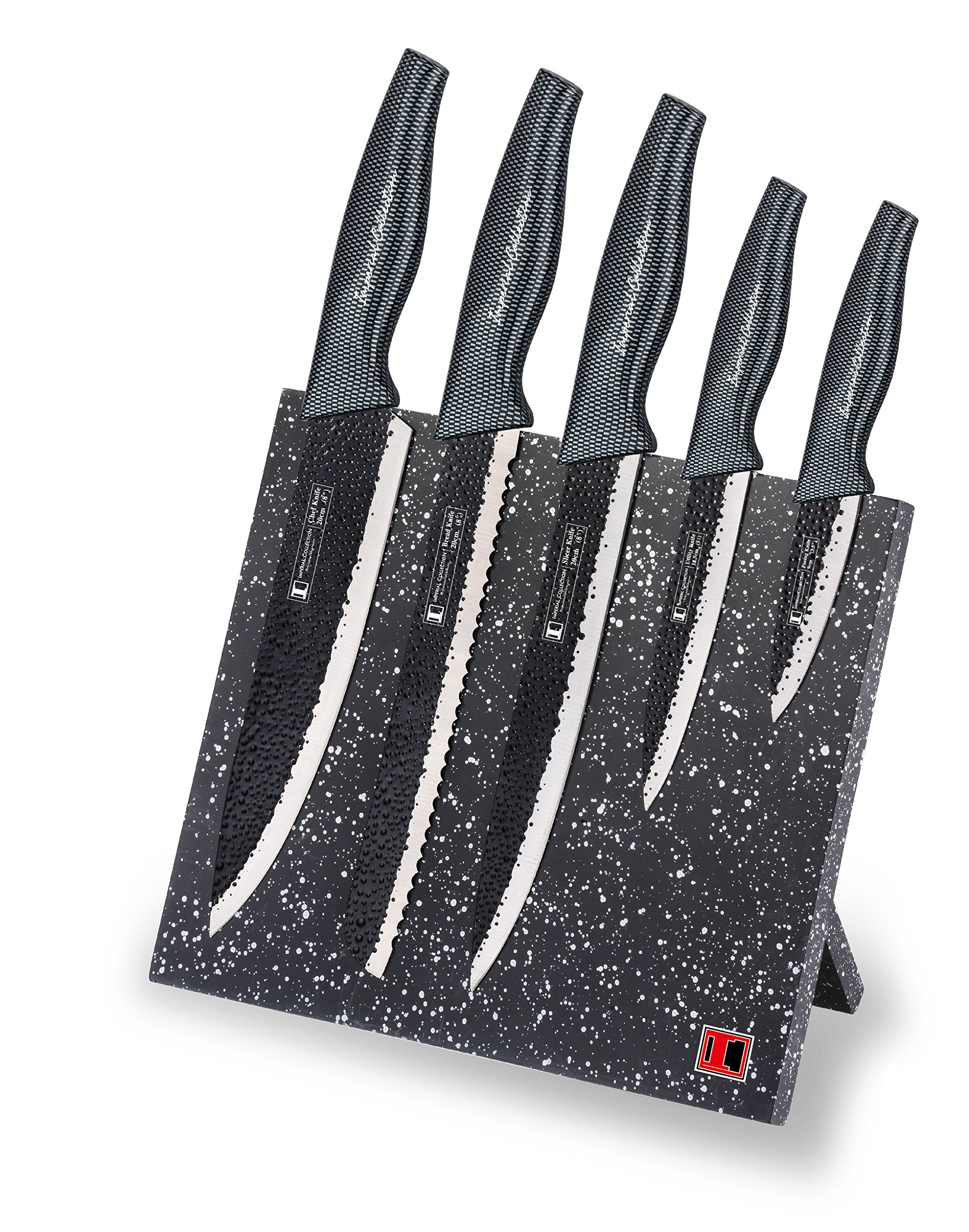 Imperial Collection IM-MGN5-CB Stainless Steel Knife Set with Magnetic Knife Block Featuring Embossed Blades with Non-Stick Coating, Ergonomic Soft Grip (6-Piece Set of Knives, Carbon Fiber Handles)