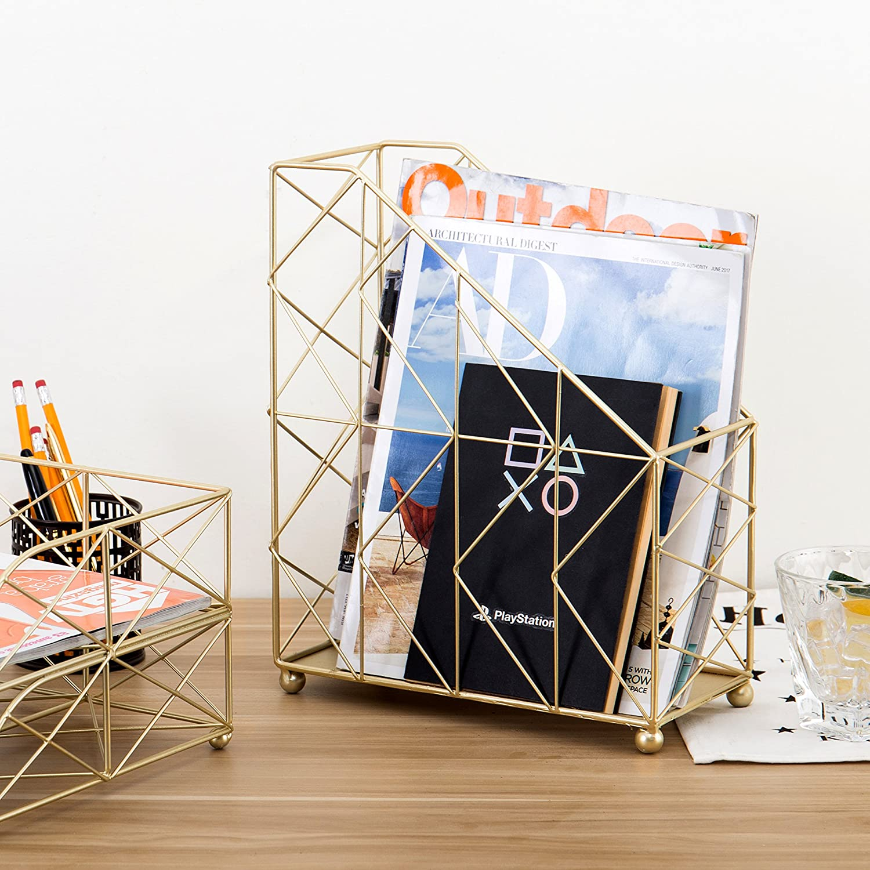 MyGift Modern Geometric Gold-Tone Desktop Magazine Holder Rack