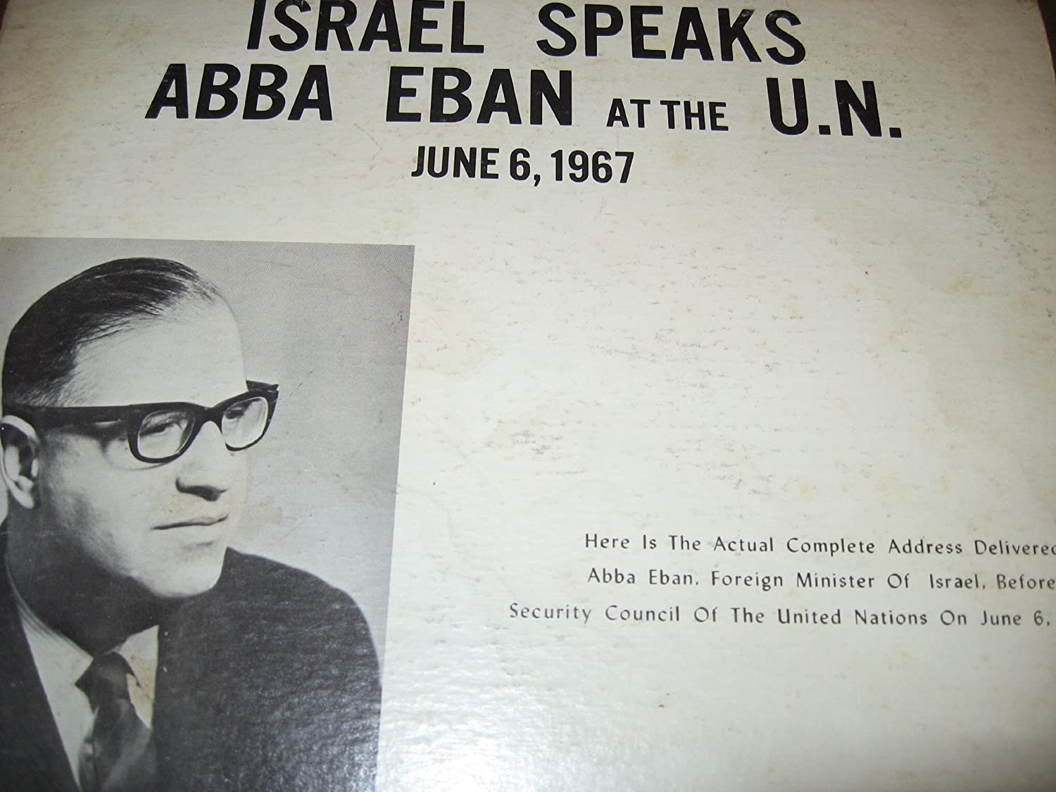 Outlet SALE Israel Speaks: Abba Eban at Import Canadian the U.N. 6-6-1967 Fort Worth Mall