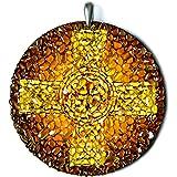 Celtic Cross Baltic Amber Handmade Amulet Charm - Spiritual, Religious, Celtic Jewelry Gift